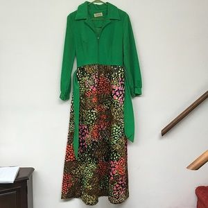 Vintage 1970/'s Evelyn Pearson Dress w Green Bodice /& Orange Floral-Quilted Skirt|House Wife Fashion|Hostess Dress|70/'s Party Dress|Size S